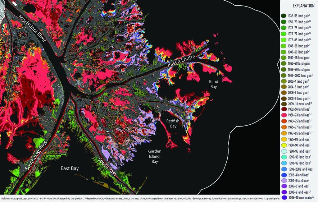 Mississippi River Delta change, 1932 to 2010