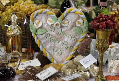 Cookies, sculpted bread, statues and fruit are among the details of the enormous, elaborate St. Joseph altar at St. Joseph Church in Gretna on the feast day of St. Joseph Monday, March 19, 2012.