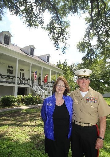 Lt. Gen. Steve and Sheri Hummer posed last year for a photograph in front of Quarters A, the 1840s-era plantation home the Marine Corps owns and uses as the residence for the senior-ranking Marine stationed in New Orleans. The Hummers, who moved into Quarters A in late 2011, were the first residents to do so after a two-year, $1.6 million renovation.