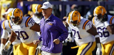 LSU Tigers coach Les Miles said the team will work on first and 10 situations only in Saturday's scrimmage. (Photo by Brett Duke, Nola.com | The Times-Picayune_