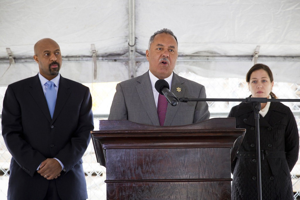 Orleans Parish Sheriff Marlin Gusman, center, stands in front of Deputy Assistant Attorney General for the Civil Rights Division Roy L. Austin Jr., left, and Director for the Louisiana Office of the Soutern Poverty Law Center Katie Schwartzmann, right, as he talks about the proposed consent decree with the Orleans Parish Prison on Tuesday, December 11, 2012 in New Orleans.