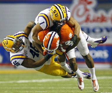Former LSU linebacker Kevin Minter (46) is looking like a first round draft pick as the NFL combine nears.