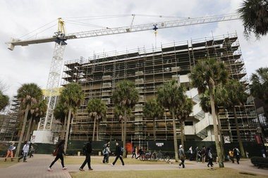 Monroe Hall under renovation on the Loyola University campus in New Orleans in February 2013.