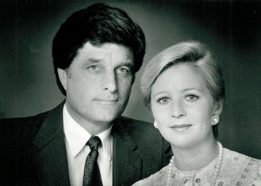 New Orleans news icons Garland Robinette and Angela Hill, in an undated publicity shot from early in their career. (File image)