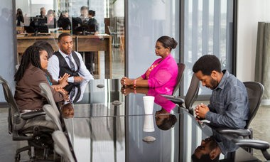 FIRST LOOK: Anthony Mackie (center), Octavia Spencer (second from right) and Andre Holland (right) shoot a scene on the New Orleans set of the drama 'Black and White.' (Tracy Bennett / Black White LLC)