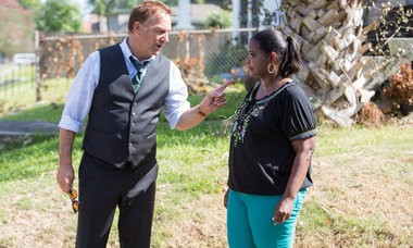 Kevin Costner and Octavia Spencer shoot a scene on the New Orleans set of the drama 'Black and White.' (Tracy Bennett / Black White LLC)