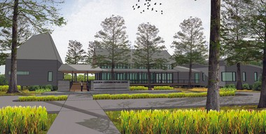 This rendering shows the front of the Audubon Louisiana Nature Center Complex, which will consist of three pavilions linked by 5,800 square feet of covered exterior boardwalks.