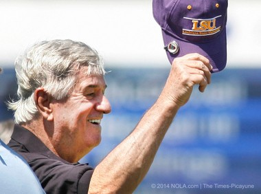 Louisiana Senate President John A. Alario Jr. shows off his LSU cap to the crowd in April 2012, during the Zurich Classic of New Orleans at the TPC Louisiana in Avondale. Alario spent about $182,000 in tickets to sporting events, Jazz Fest and others between 2009 and 2012, according to an analysis by NOLA.com | The Times-Picayune and WVUE Fox 8 News. (Nola.com | The Times-Picayune archive)