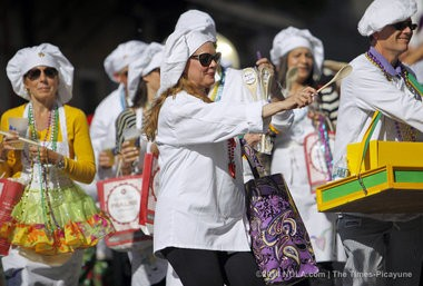 The Krewe of Lafcadio parade makes its way through the French Quarter Saturday, March 1, 2014. The marching krewe celebrates the culinary arts of Louisiana. (Photo by Brett Duke, NOLA.com   The Times-Picayune)