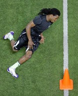 Tahj Jones runs a drill during LSU's Pro Day at the LSU indoor practice facility in Baton Rouge on Wednesday, April 9, 2014. (Photo by Brett Duke, Nola.com | The Times-Picayune)