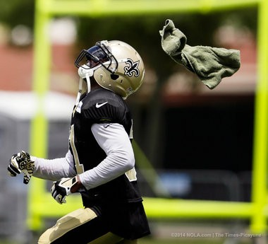New Orleans Saints free safety Jairus Byrd (31) gets a towel thrown at him in attempts to distract him from catching the ball during day 18 of the New Orleans Saints training camp at the Saints facility in Metairie, Tuesday August 19, 2014.(David Grunfeld, NOLA.com / The Times-Picayune)