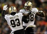 New Orleans Saints outside linebacker Junior Galette (93) celebrates a sackwith Parys Haralson (98) in Chicago. (Photo by David Grunfeld, NOLA.com   The Times-Picayune)