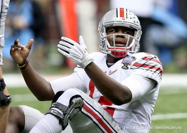 Ohio State Buckeyes quarterback Cardale Jones looking slick in the Buckeyes' alternate uniforms in the Sugar Bowl.