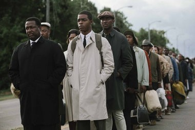 Wendell Pierce (far left) plays Rev. Hosea Williams and Stephan James (second from left) plays John Lewis in director Ava Duvernay's civil-rights drama 'Selma.' (Atsushi Nishijima/Paramount Pictures)