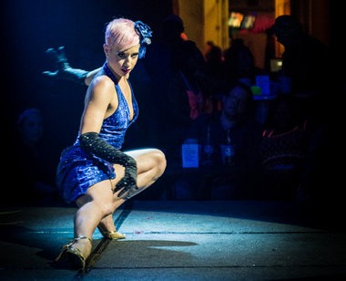 New Orleans burlesque performer Bella Blue hosts the variety show 'The Blue Book' Thursdays through Sundays at Lucky Pierre's in the French Quarter. (Photo by JonGunnar Gylfason)