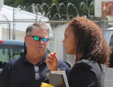 Albert Woodfox's attorney Carine Williams, right, talks with West Feliciana Parish Homeland Security Director Brian Spillman outside the West Feliciana Parish Detention Center on Friday, July 12, 2015, ahead of an anticipated ruling from the Fifth Circuit U.S. Court of Appeals regarding Woodfox's potential release after more than 40 years in solitary confinement in Louisiana prisons. (Emily Lane, NOLA.com   The Times-Picayune)
