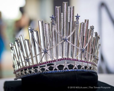 The new Miss USA crown, unveiled on Friday, July 10, 2015, features 222 white sapphires, 340 blue sapphires and 112 rubies. (Photo by Brianna Paciorka, NOLA.com | The Times-Picayune)