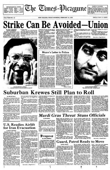 The front page of The Times-Picayune of Feb. 16, 1979, indicating hope that a police strike could be avoided, thus saving Mardi Gras. The strike went on, and the city saw the first peacetime cancellation of Mardi Gras since Restoration. (File image)