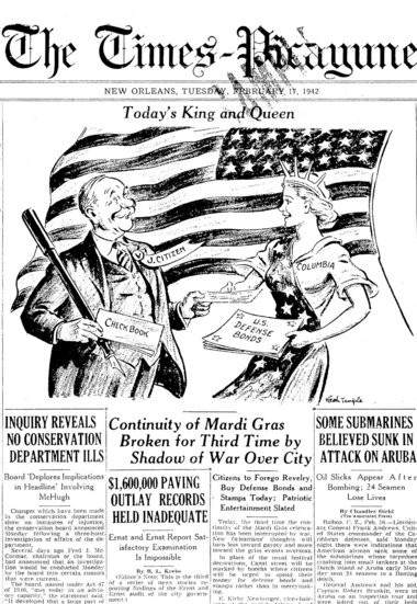 A front-page cartoon from The Times-Picayune of Feb. 17, 1942, noting the cancellation of Mardi Gras due to World War II -- and urging local citizens to instead invest in bonds to support the war effort. (File image)