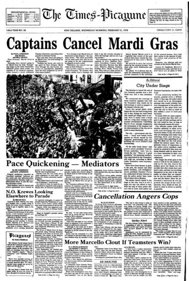 The front page of The Times-Picayune of Feb. 21, 1979, announcing the cancellation of Mardi Gras festivities in New Orleans due to a lingering police strike. (File image)