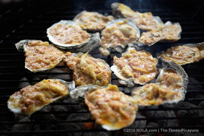Head Cheese and Artichoke Cream Grilled Oysters by Miles Prescott. (Photo by David Grunfeld, NOLA.com | The Times-Picayune)
