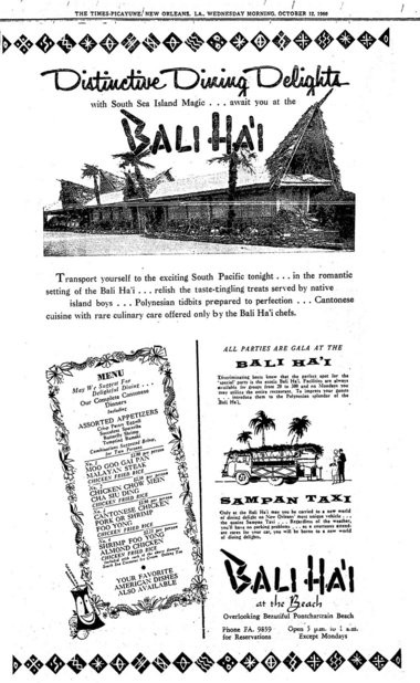 A 1960 ad from The Times-Picayune in New Orleans for the Bali Ha'i restaurant at Pontchartrain Beach. (File image)