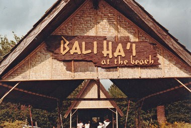 The 'entrace portal' of the Bali Ha'i at the Beach tiki restaurant, which for decades provided an island getaway at New Orleans' Pontchartrain Beach amusement park. (Photo courtesy Judy Brockmann)