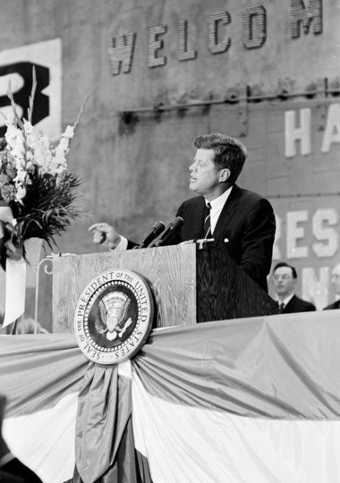 President John F. Kennedy speaks at the dedication ceremony for the Nashville Avenue Wharf in New Orleans on May 4, 1962. (Cecil Stoughton (Sellers) / White House photograph, via John F. Kennedy Presidential Library and Museum, Boston)