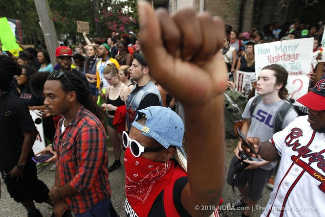Protesters and police face off in Baton Rouge on Sunday, July 10, 2016, days following the Alton Sterling shooting (Photo by Chris Granger, Nola.com | The Times-Picayune)