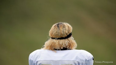 The hair of New Orleans Saints wide receiver Willie Snead (83) that everyone is talking about during the Saints seventh day of training camp at The Greenbrier in White Sulphur Springs, W.Va., Thursday, August 4, 2016. (Photo by David Grunfeld, NOLA.com | The Times-Picayune)