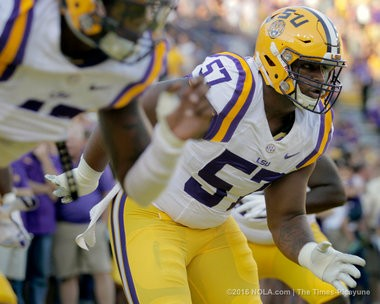LSU Tigers defensive tackle Davon Godchaux (57) warms up before LSU took on the Missouri Tigers in Baton Rouge on Saturday, October 1, 2016. (Photo by Brett Duke, NOLA.com | The Times-Picayune)
