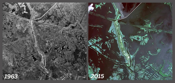 Satellite imagery of Isle de Jean Charles in 1963, left, and 2015, right.