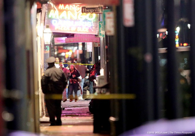 The scene at Bourbon and Iberville Streets in the New Orleans French Quarter where an early Sunday shooting left 1 dead and 9 wounded.