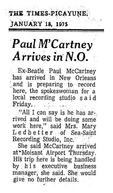 A article from the Jan. 18, 1975, edition of The Times-Picayune in New Orleans announcing the arrival of Paul McCartney, who come to town for an extended stay with his band Wings to record the album 'Venus & Mars.' (File image)
