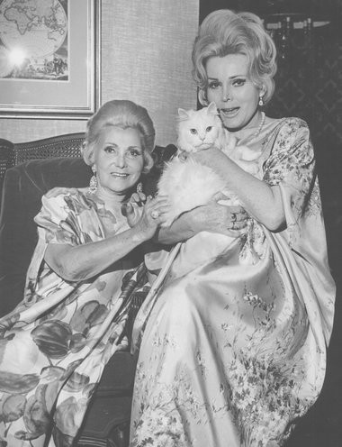 Actress Zsa Zsa Gabor, right, with mother Jolie Gabor and feline Miss Pussycat, pose for a 1969 photo in the presidential suite of the Royal Sonesta Hotel in New Orleans. (Times-Picayune file photo)