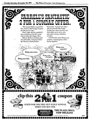A 1975 ad in The Times-Picayune for Farrell's Ice Cream Parlour at the Lake Forest Plaza shopping mall. (The Times-Picayune archive)