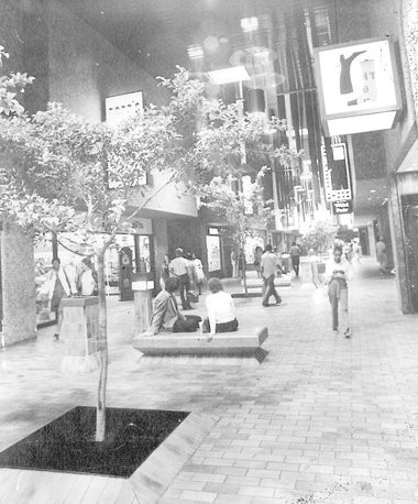 An undated photo showing an internal corridor of the Lake Forest Plaza shopping mall. On the left side of the corridor are stores including Rapp's Luggage and Baker's Shoes. On the right can be seen The Wild Pair and Gryder's Shoes, among other stores. (Photo courtesy Ryan J. Bordenave)