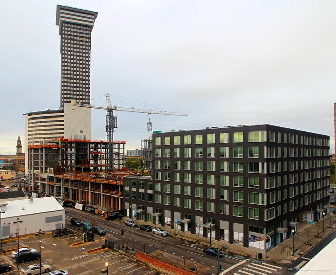 The Beacon in the foreground, right, as The Standard rises to the left rear as part the The Domain Cos. South Market District development. (Photo by G. Andrew Boyd, NOLA.com | The Times-Picayune)