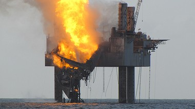 Gulf of Mexico rig exploded Tuesday evening causing drill floor and derrick to collapse.