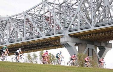 Cyclists along the levee bike path in Jefferson Parish.