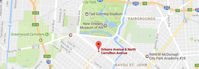 Twelve people were hurt when a vehicle plowed into a crowd at Carrollton and Orleans avenues in New Orleans, police said. (Google map)