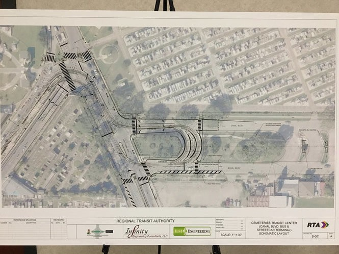 A blueprint of the planned streetcar line extension from Canal Boulevard across City Park Avenue, which depicts the new streetcar and bus shelters. (Beau Evans, NOLA.com | The Times-Picayune.)