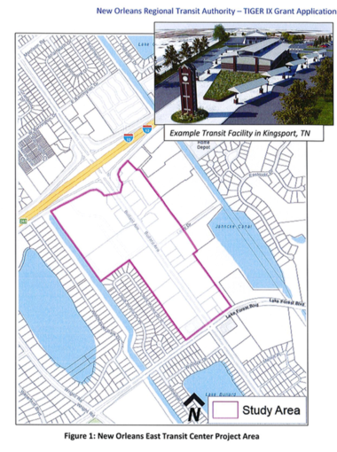 A map depicting the area where the transit center would be located. (FTA grant proposal)