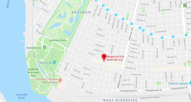 This map shows the intersection at Magazine Street and Nashville Avenue in Uptown. (Google Maps)