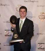 Tulane's Cairo Santos hoists the Lou Groza trophy, which award the nation's best college place kicker