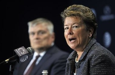 New Penn State athletic director Sandy Barbour talks with reporters in State College, Pa. on Saturday, July 26, 2014.