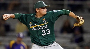 Tulane's Ian Gibaut (33) pitches against LSU at Alex Box Stadium on Wednesday, April 24, 2013 in Baton Rouge. (Photo by Brett Duke, Nola.com | The Times-Picayune)