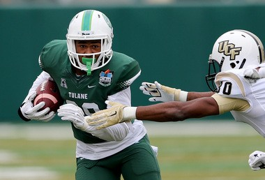 Tulane Green Wave safety Roderic Teamer (38) intercepts a pass in the second quarter during the game between the University of Central Florida and Tulane at Yulman Stadium on Saturday, October 3, 2015. (Photo by Michael DeMocker, NOLA.com   The Times-Picayune)