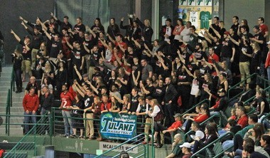 The Cincinnati fans pack Devlin Fieldhouse to cheer their team in a 63-47 victory over Tulane during the 2014-2015 season. (Photo by Peter G. Forest)