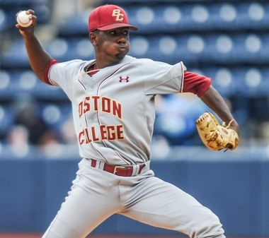 Boston College pitcher Justin Dunn throws against Tulane in the NCAA college regional baseball tournament game in Oxford, Miss., Friday, June 3, 2016. (Bruce Newman/The Oxford Eagle via AP)